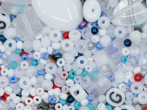 Glass Bead Mix , White Blue Red, Czech Glass