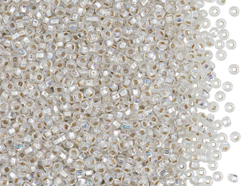 Rocailles Seed Beads 11/0, Crystal Silver Lined Rainbow Square Hole, Czech Glass