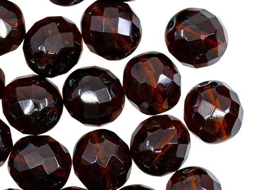 Fire Polished Faceted Beads Round 12 mm, Dark Topaz, Czech Glass