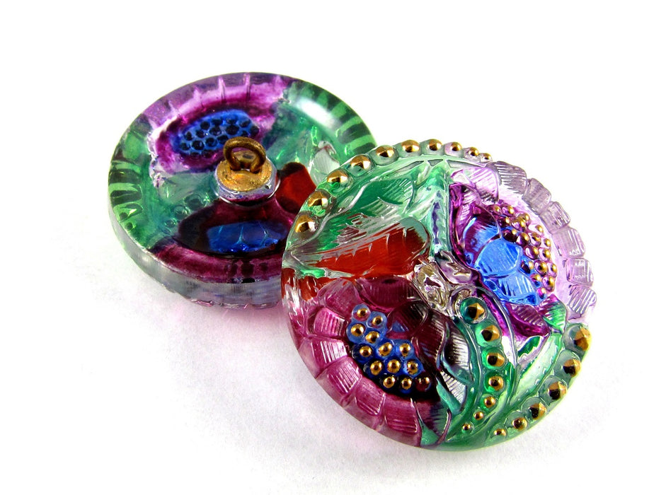 1 pc Czech Glass Button Hand Painted, Size 12 (27.0mm | 1 1/16''), Floral Design Pink Purple, Czech Glass