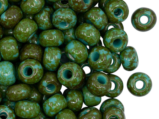 Seed Beads 32/0, Turquoise Travertine, Czech Glass