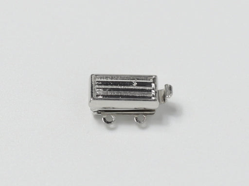 Clasps 13x7 mm, 2 Holes, Rhodium Plated, Metal