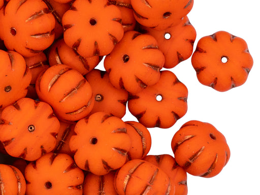 Pumpkin Beads 8x11 mm, Orange Matte With Copper Streaks, Czech Glass