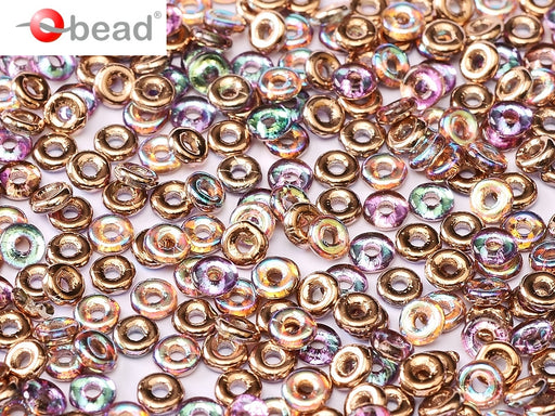 O Beads 1x4 mm, Crystal Copper Rainbow, Czech Glass