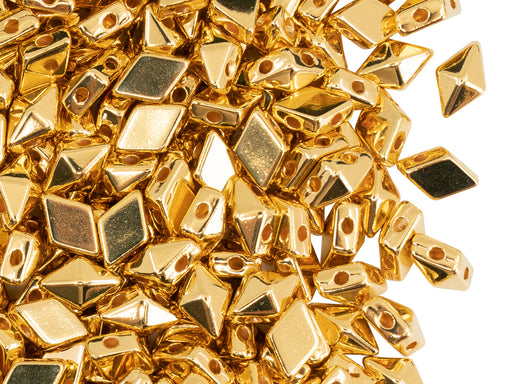 Diamonduo™ Beads 5x8 mm, 2 Holes, Gold Plated 24KT, Metal