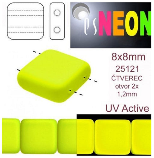 Tile Neon Beads 8x8x3.2 mm, 2 Holes, Neon Yellow, Czech Glass