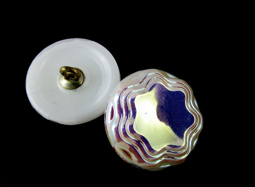 Czech Glass Button Hand Painted, Size 8 (18.0mm | 3/4''), White AB, Czech Glass
