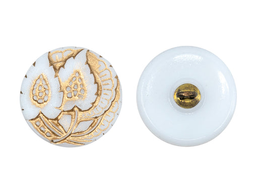 Czech Glass Buttons Hand Painted, Size 8 (18.0mm | 3/4''), White With Gold Floral Ornament, Czech Glass