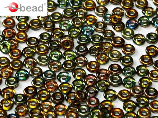 O Beads 4x1 mm, Crystal Magic Copper, Czech Glass