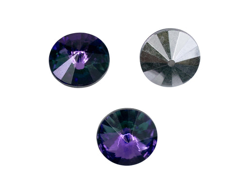 Matubo Rivoli 12 mm, Crystal Heliotrope With Foiled, Czech Glass