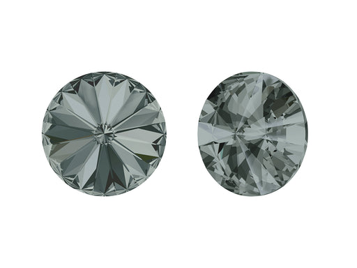 Rivoli Stones 1122 14 mm, Black Diamond Platinum Foiled, Swarovski, Austria