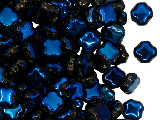 Four Pointed Star Beads 7x7x4 mm, Crystal Full Azuro, Czech Glass