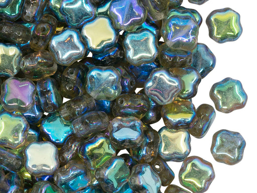 Four Pointed Star Beads 7x7x4 mm, Crystal Blue Rainbow, Czech Glass