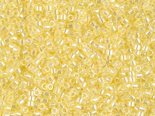 Delica Seed Beads 15/0, Transparent Pale Yellow Luster, Miyuki Japanese Beads