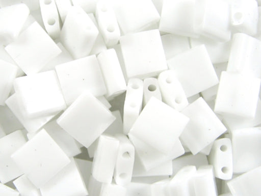 Tila™Beads 5x5 mm, 2 Holes, White Opaque, Miyuki Japanese Beads