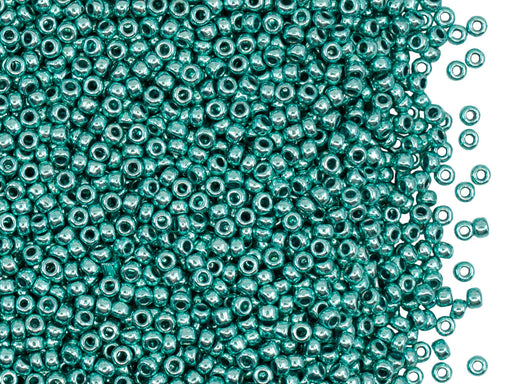Rocailles Seed Beads 11/0, Turquoise Green Metallic, Czech Glass