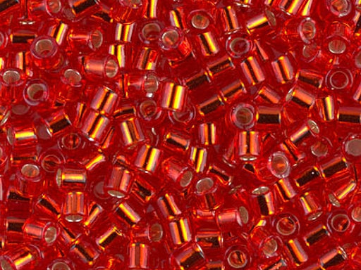 Delica Seed Beads 8/0, Red Silver Lined, Miyuki Japanese Beads