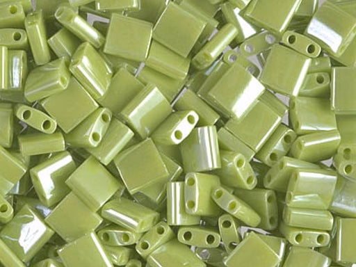 Tila™Beads 5x5 mm, 2 Holes, Opaque Chartreuse Luster, Miyuki Japanese Beads