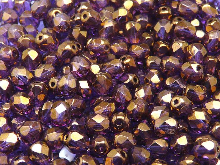 50 pcs Fire Polished Faceted Beads Round, 6mm, Crystal Vega Luster, Czech Glass