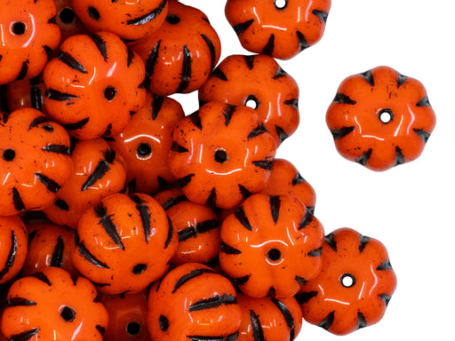Pumpkin Beads 8x11 mm, Orange With Black Streaks, Czech Glass