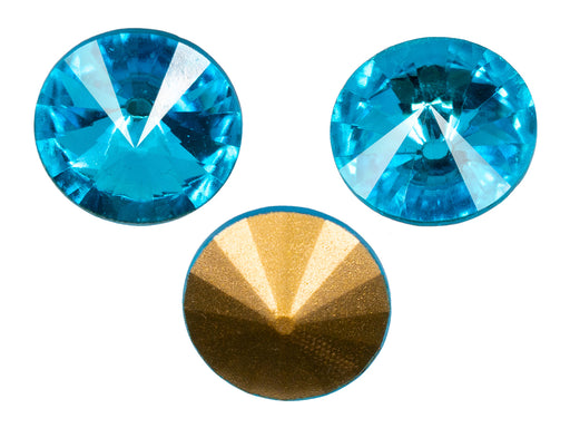 Matubo Rivoli 18 mm, Aquamarine Gold Foiled, Czech Glass