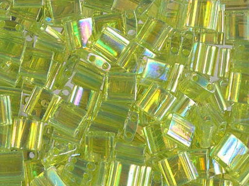 Tila™Beads 5x5 mm, 2 Holes, Transparent Chartreuse AB, Miyuki Japanese Beads
