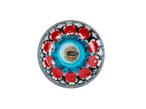 1 pc Czech Glass Buttons Hand Painted, Size 10 (22.5mm | 7/8''), Transparent With Red Flower Ornament, Czech Glass