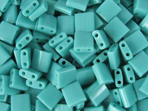Tila™Beads 5x5 mm, 2 Holes, Opaque Turquoise Green, Miyuki Japanese Beads