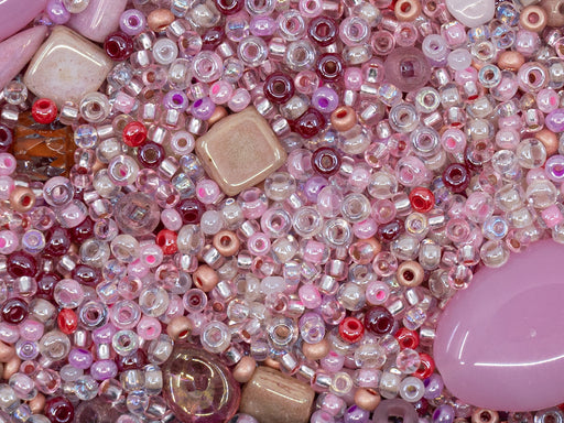 Glass Bead Mix , Pink White Silver, Czech Glass