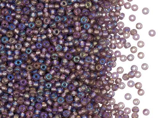 Rocailles Seed Beads 10/0, Light Amethyst AB Silver Lined, Czech Glass