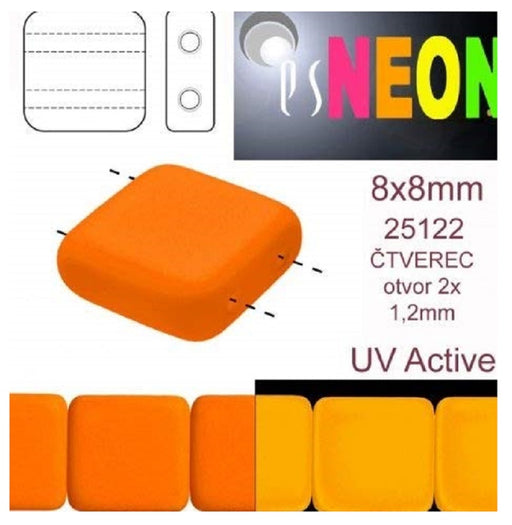 Tile Neon Beads 8x8x3.2 mm, 2 Holes, Neon Orange, Czech Glass