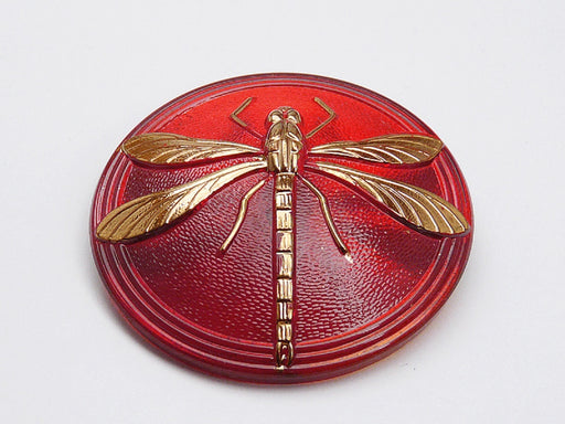 Czech Glass Button Hand Painted, Size 18 (40.5mm | 1 1/2''), Ruby Gold Dragonfly, Czech Glass