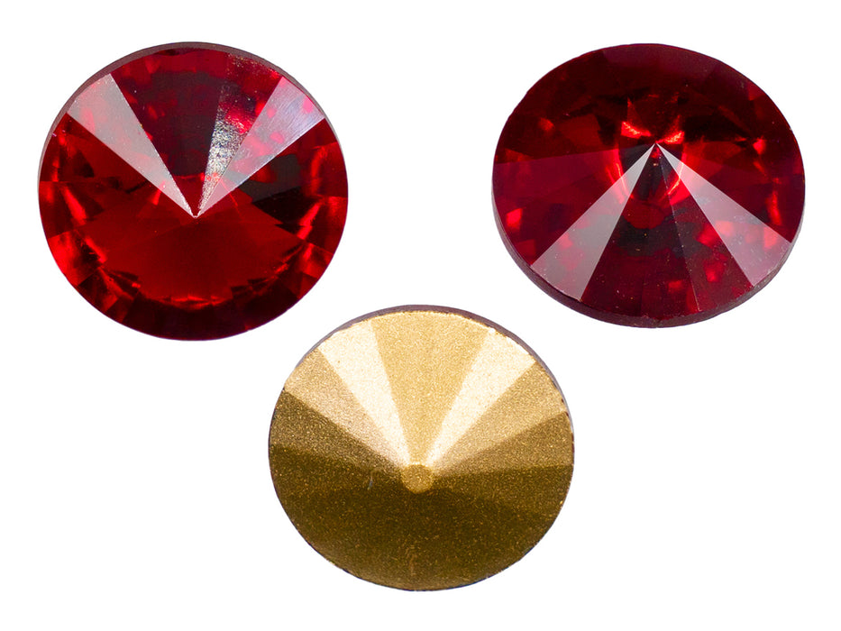 Matubo Rivoli 18 mm, Ruby Gold Foiled, Czech Glass