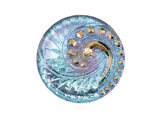 Czech Glass Buttons Hand Painted, Size 12 (27.0mm | 1 1/16''), Light Blue Violet Chameleon with Transparent Gold Spiral Ornament, Czech Glass