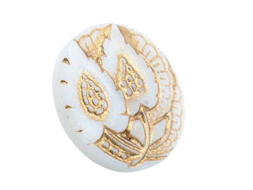 1 pc Czech Glass Buttons Hand Painted, Size 8 (18.0mm | 3/4''), White With Gold Floral Ornament, Czech Glass