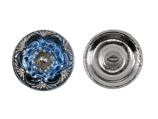 Czech Glass Buttons Hand Painted, Size 8 (18.0mm | 3/4''), Deep Pale Blue With Silver Ornament, Czech Glass