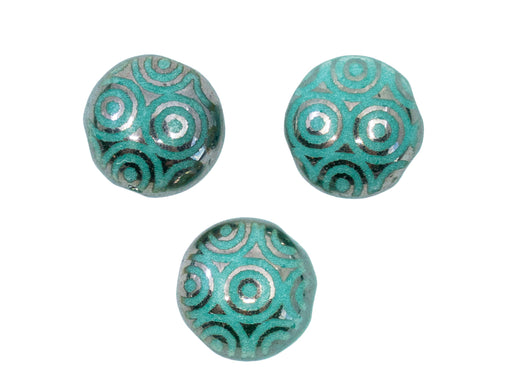 12 pcs Candy Beads 8 mm, 2 Holes, Turquoise Green Chrome Laser Circles, Czech Glass