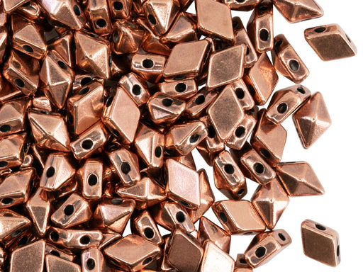 Diamonduo™ Beads 5x8 mm, 2 Holes, Plated Antique Copper, Metal