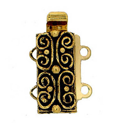 Clasps 13x6 mm, 2 Holes, 23KT Gold Plated Old, Metal