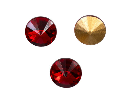 Matubo Rivoli 12 mm, Ruby With Gold Foiled, Czech Glass