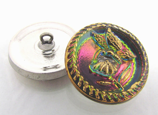 1 pc Czech Glass Button Hand Painted, Size 10 (22.5mm | 7/8''), Magic Orchid Gold, Czech Glass