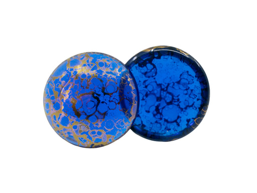 Czech Glass Cabochons 18 mm, Sapphire Bronze, Czech Glass