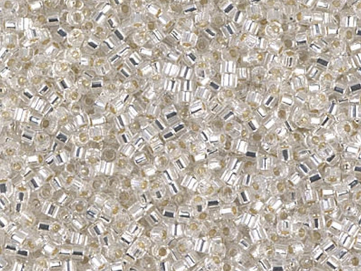 Delica Beads Cut 11/0, Crystal Silver Lined, Miyuki Japanese Beads