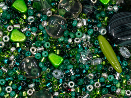 Glass Bead Mix , Green Silver, Czech Glass