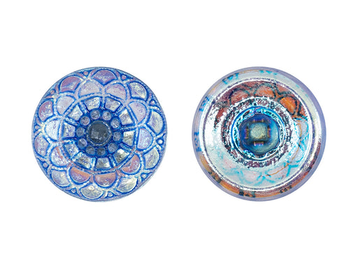 Czech Glass Buttons Hand Painted, Size 8 (18.0mm | 3/4''), Crystal AB With Blue Scales Ornament, Czech Glass