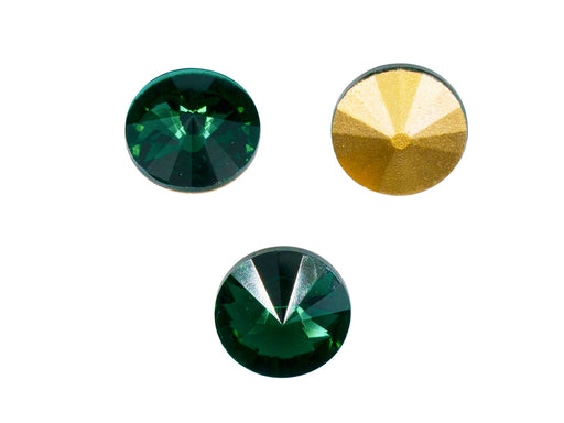 Matubo Rivoli 12 mm, Emerald With Gold Foiled, Czech Glass