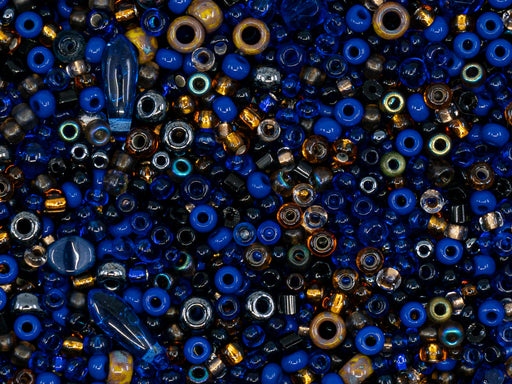 Glass Bead Mix , Dark Blue Brown, Czech Glass