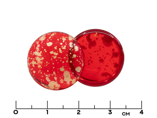 1 pc Czech Glass Cabochons 18 mm, Light Siam Splash Gold, Czech Glass