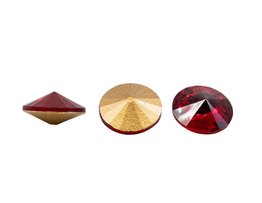 2 pcs Matubo Rivoli 16 mm, Ruby Gold Foiled, Czech Glass