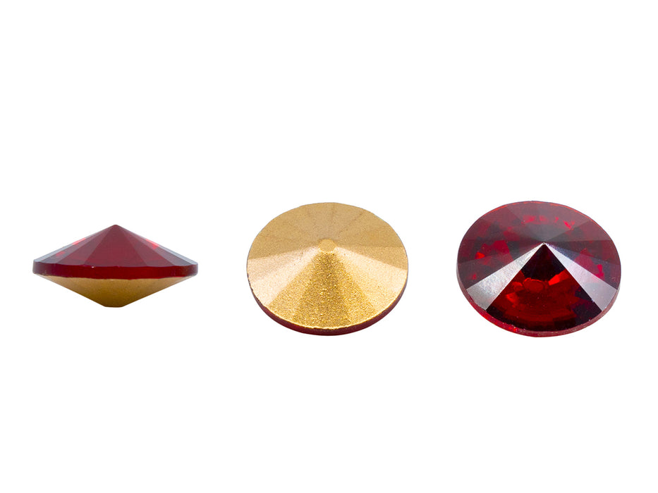 1 pc Matubo Rivoli 18 mm, Ruby Gold Foiled, Czech Glass